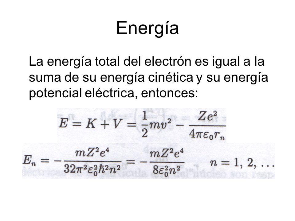 Energía La energía total del electrón es igual a la suma de su energía cinética y su energía potencial eléctrica, entonces: