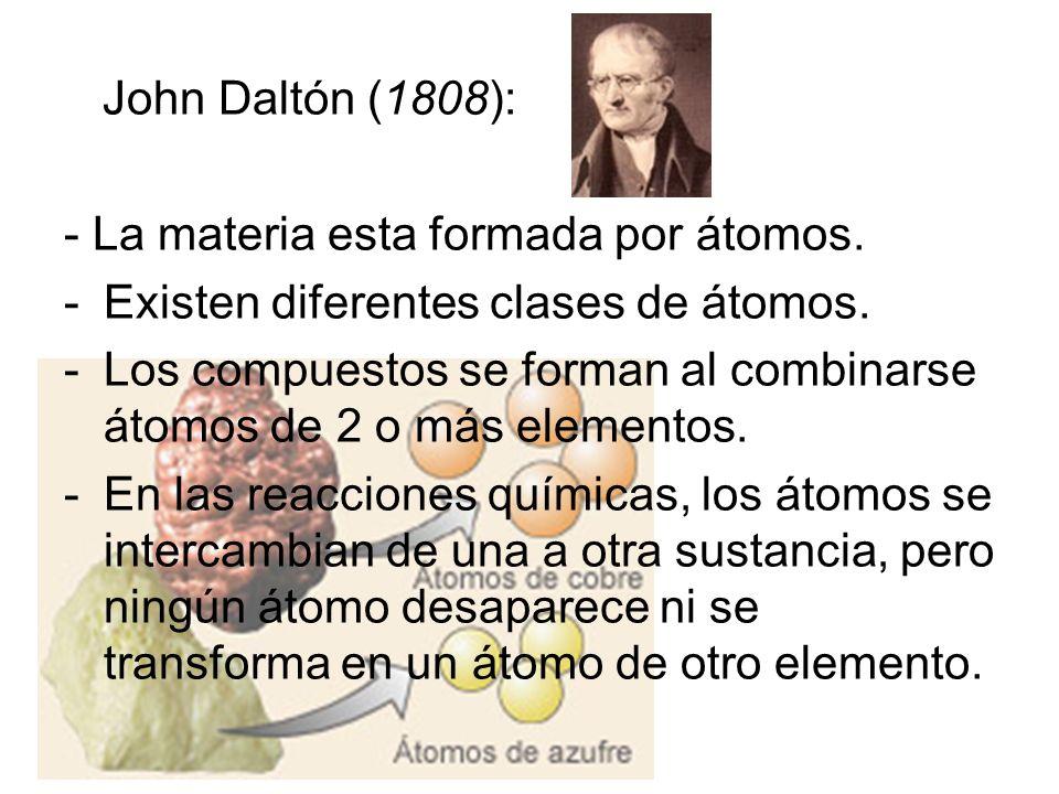 John Daltón (1808):- La materia esta formada por átomos. Existen diferentes clases de átomos.
