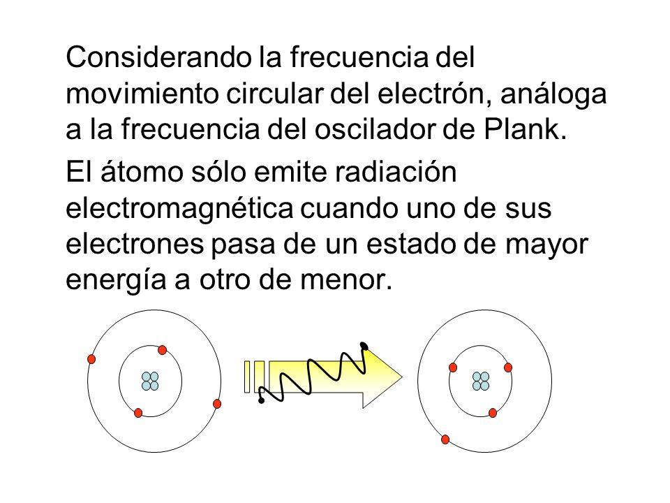 Considerando la frecuencia del movimiento circular del electrón, análoga a la frecuencia del oscilador de Plank.