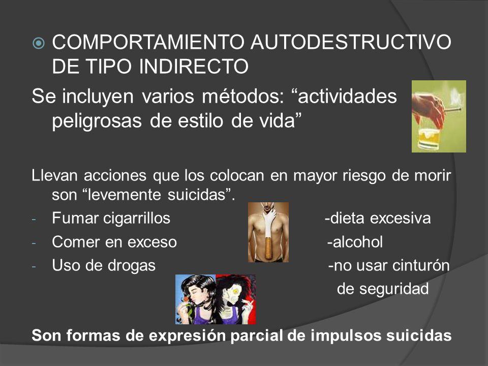 COMPORTAMIENTO AUTODESTRUCTIVO DE TIPO INDIRECTO