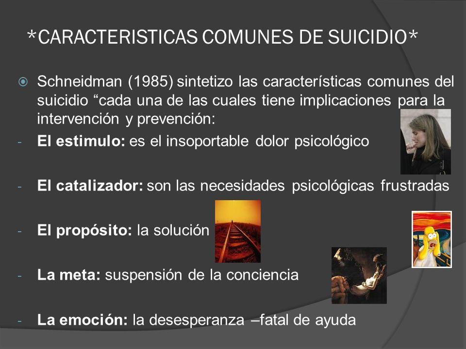 *CARACTERISTICAS COMUNES DE SUICIDIO*