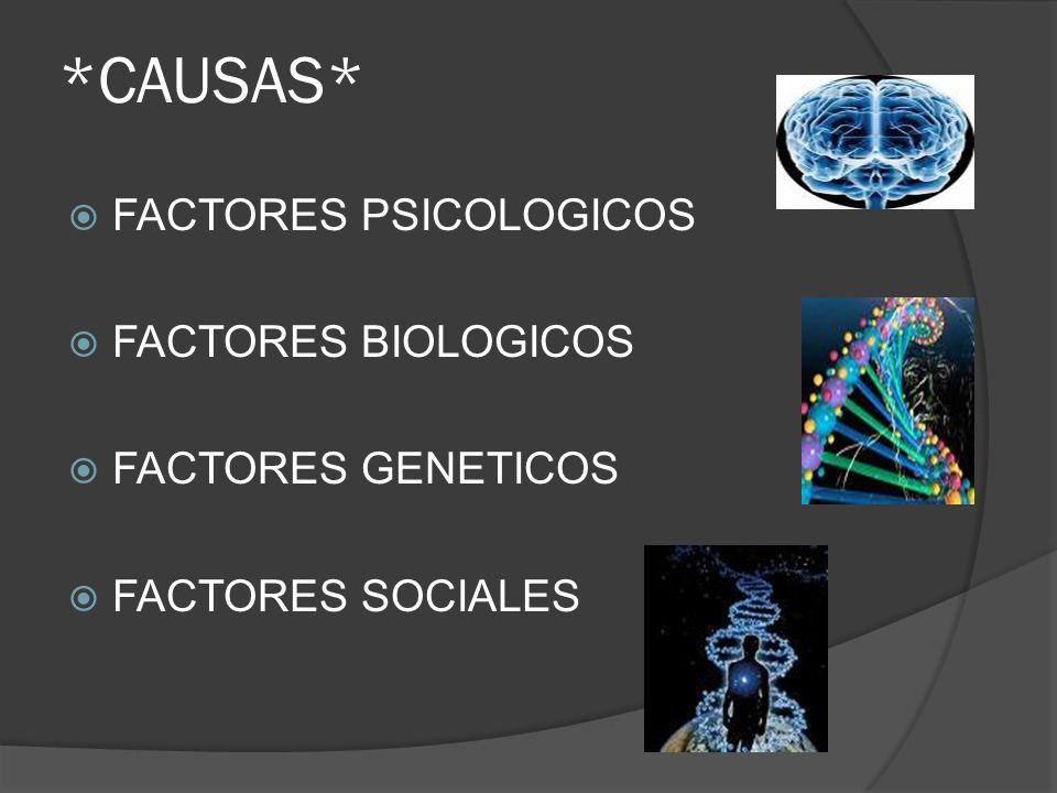 *CAUSAS* FACTORES PSICOLOGICOS FACTORES BIOLOGICOS FACTORES GENETICOS