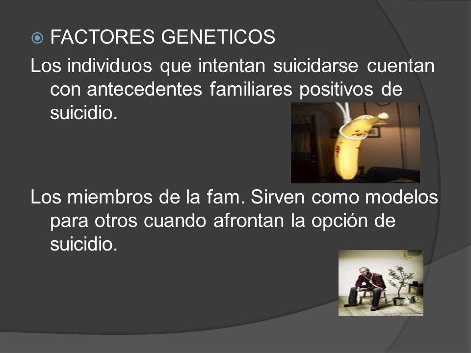 FACTORES GENETICOS Los individuos que intentan suicidarse cuentan con antecedentes familiares positivos de suicidio.