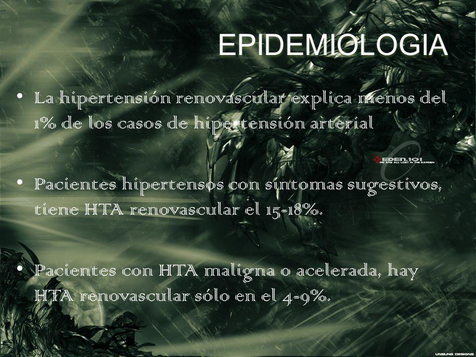 EPIDEMIOLOGIA La hipertensión renovascular explica menos del 1% de los casos de hipertensión arterial.
