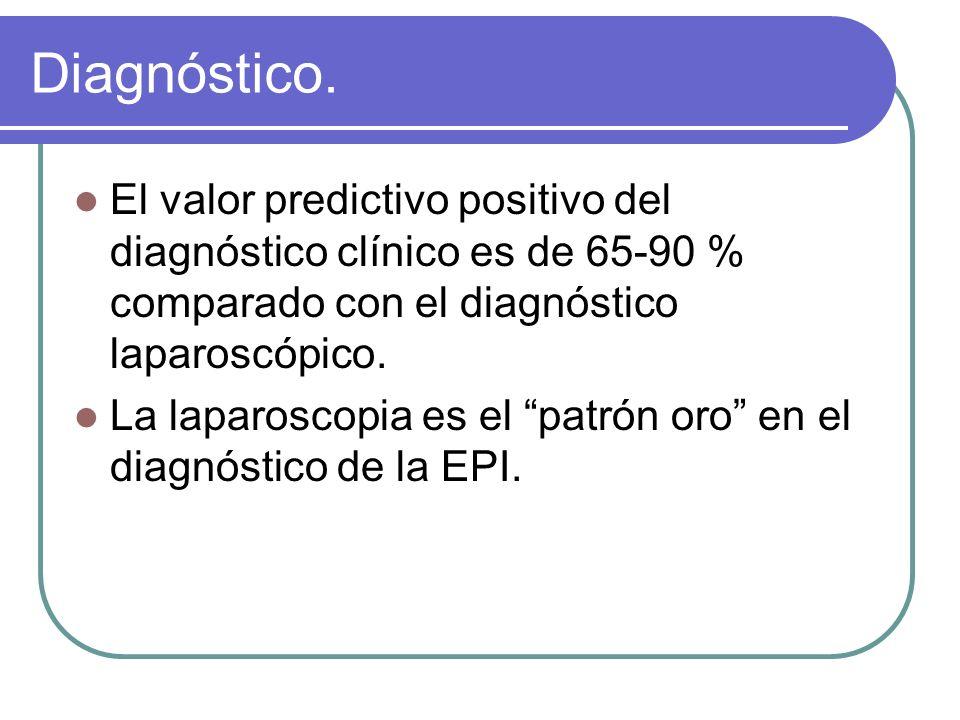 Diagnóstico. El valor predictivo positivo del diagnóstico clínico es de 65-90 % comparado con el diagnóstico laparoscópico.
