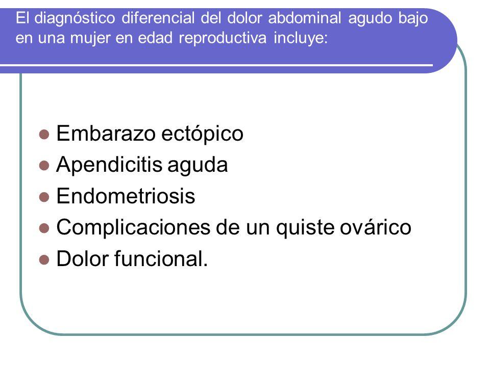 Complicaciones de un quiste ovárico Dolor funcional.