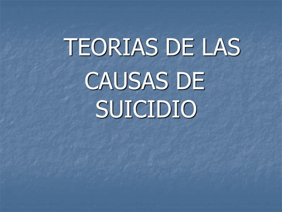 TEORIAS DE LAS CAUSAS DE SUICIDIO