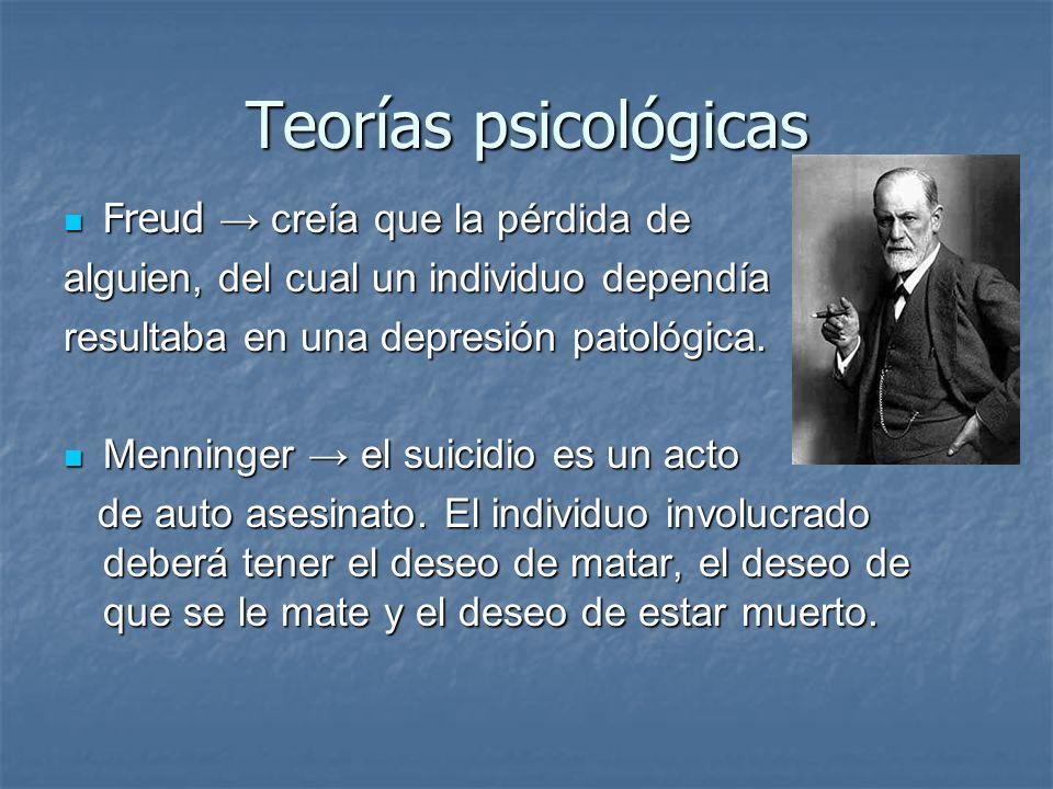 Teorías psicológicas Freud → creía que la pérdida de