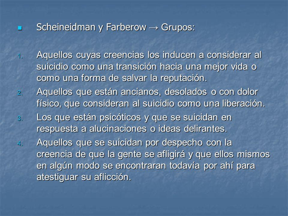 Scheineidman y Farberow → Grupos: