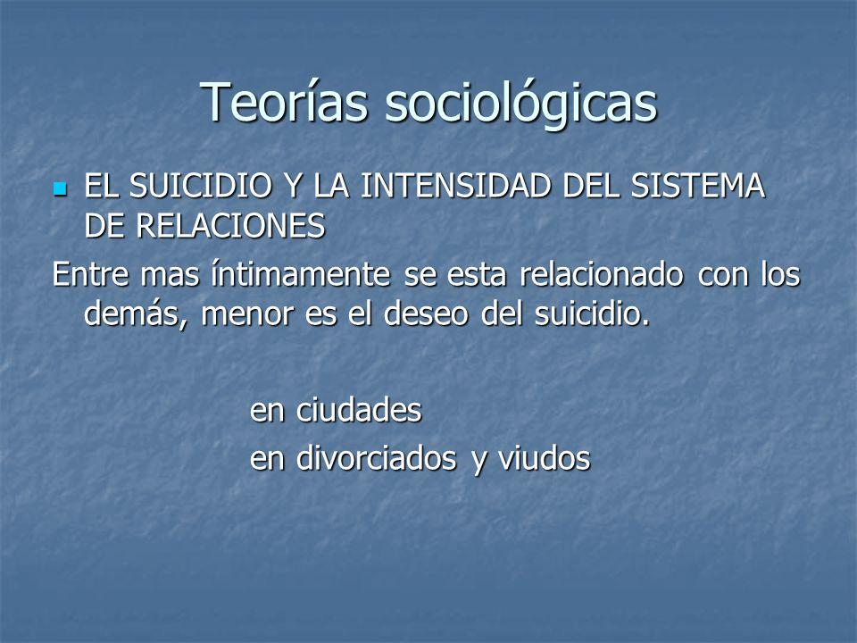 Teorías sociológicas EL SUICIDIO Y LA INTENSIDAD DEL SISTEMA DE RELACIONES.