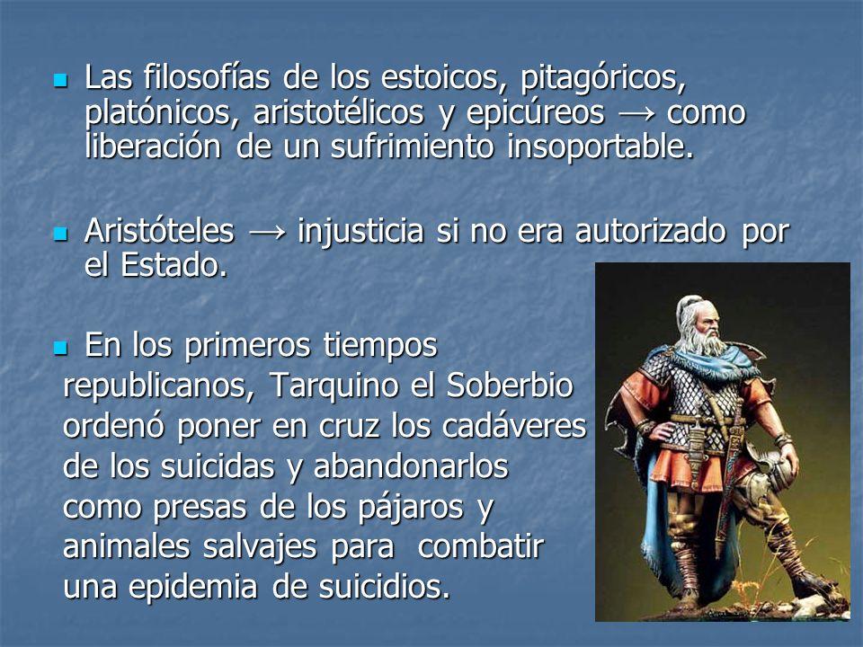 Las filosofías de los estoicos, pitagóricos, platónicos, aristotélicos y epicúreos → como liberación de un sufrimiento insoportable.