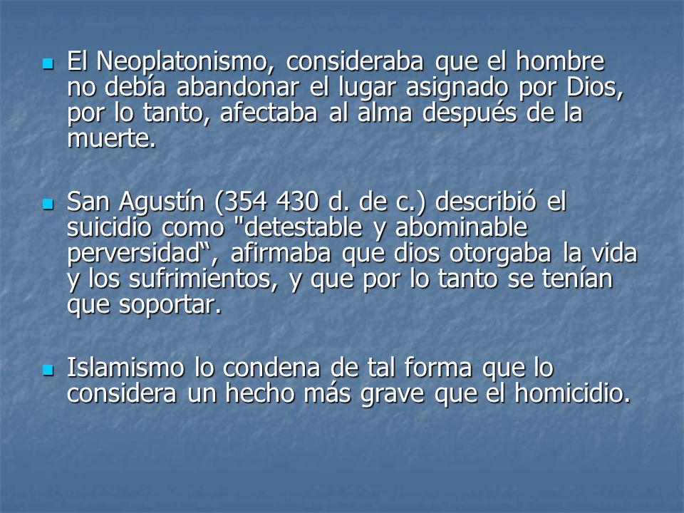 El Neoplatonismo, consideraba que el hombre no debía abandonar el lugar asignado por Dios, por lo tanto, afectaba al alma después de la muerte.