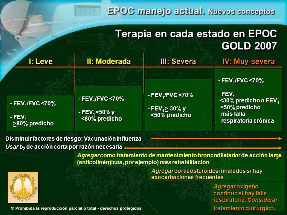Terapia en cada estado en EPOC GOLD 2007