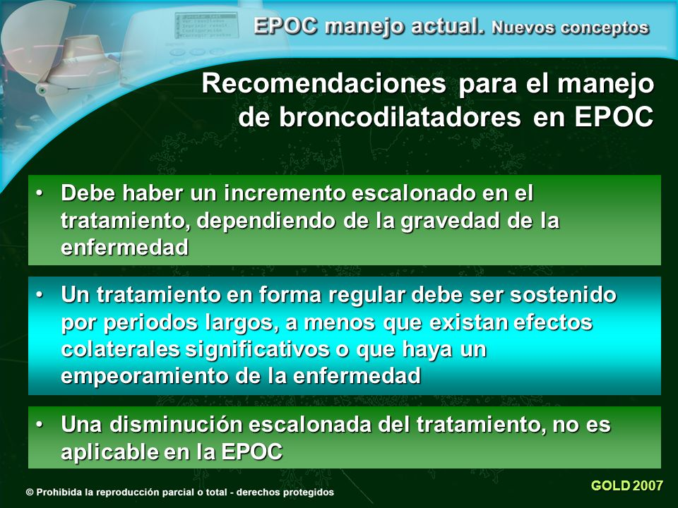 Recomendaciones para el manejo de broncodilatadores en EPOC