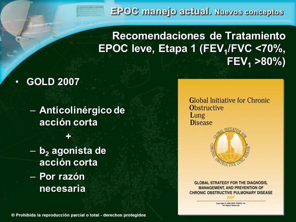 Recomendaciones de Tratamiento EPOC leve, Etapa 1 (FEV1/FVC <70%, FEV1 >80%)