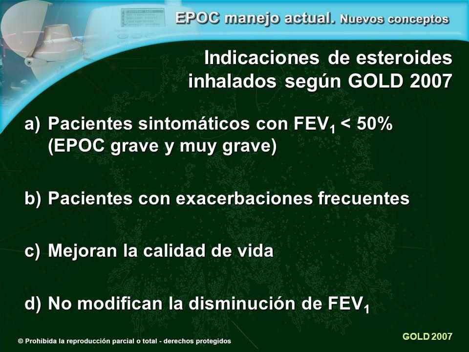 Indicaciones de esteroides inhalados según GOLD 2007
