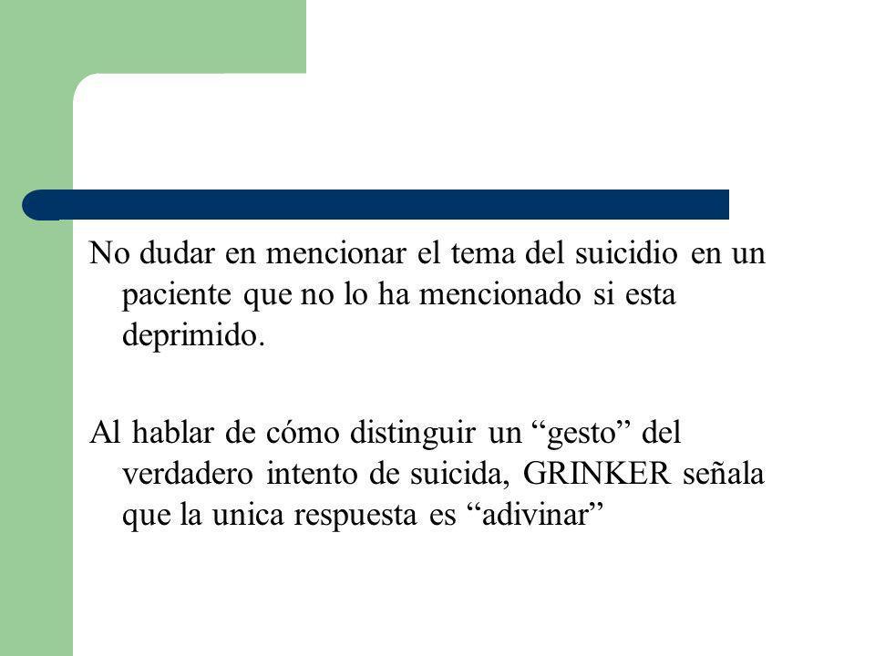 No dudar en mencionar el tema del suicidio en un paciente que no lo ha mencionado si esta deprimido.