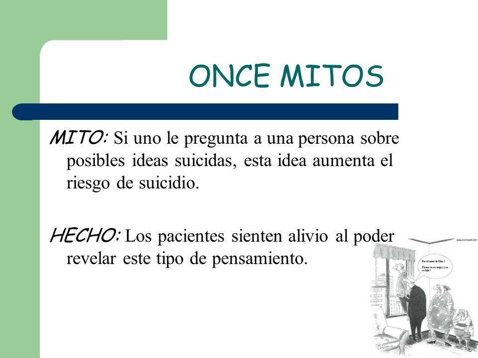 ONCE MITOS MITO: Si uno le pregunta a una persona sobre posibles ideas suicidas, esta idea aumenta el riesgo de suicidio.