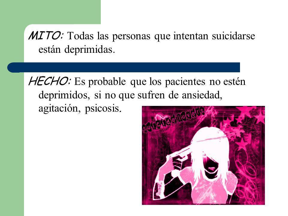 MITO: Todas las personas que intentan suicidarse están deprimidas.