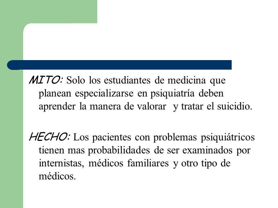 MITO: Solo los estudiantes de medicina que planean especializarse en psiquiatría deben aprender la manera de valorar y tratar el suicidio.