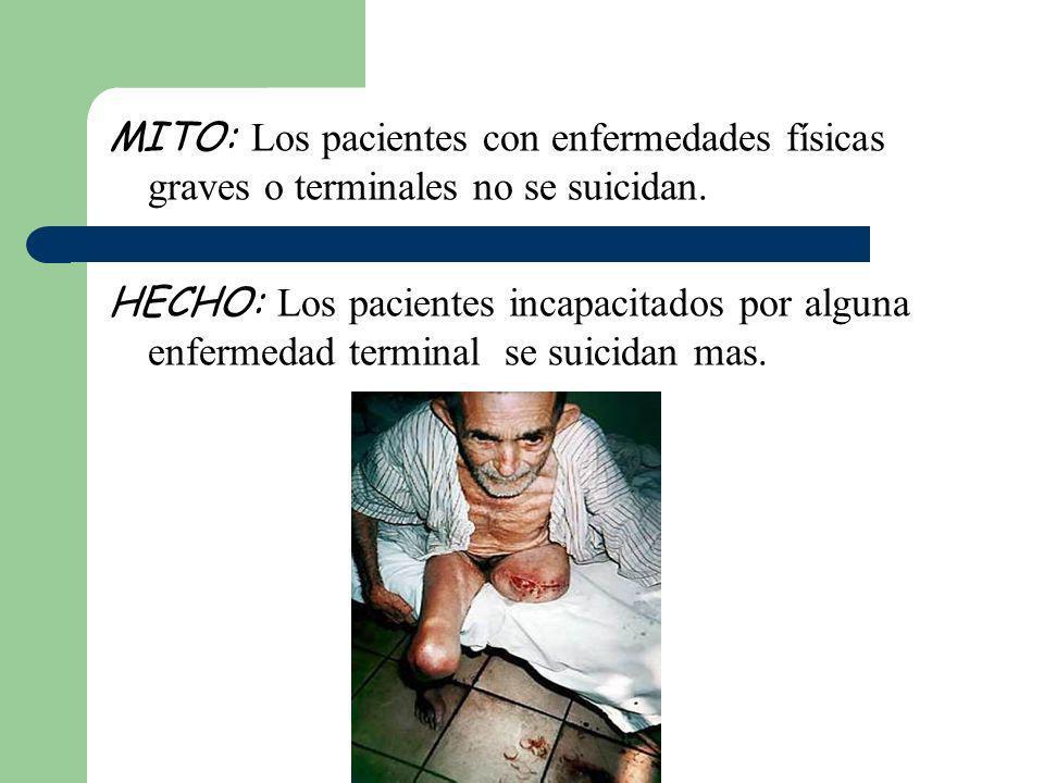 MITO: Los pacientes con enfermedades físicas graves o terminales no se suicidan.