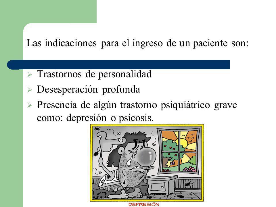 Las indicaciones para el ingreso de un paciente son:
