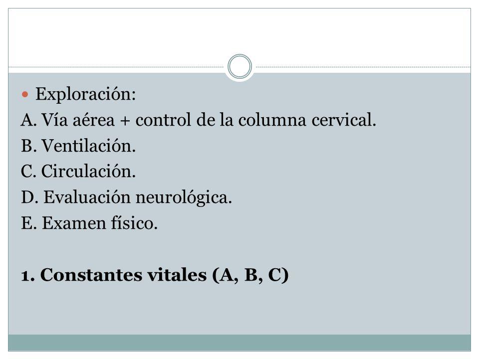 Exploración:A. Vía aérea + control de la columna cervical. B. Ventilación. C. Circulación. D. Evaluación neurológica.