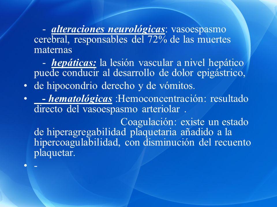 - alteraciones neurológicas: vasoespasmo cerebral, responsables del 72% de las muertes maternas