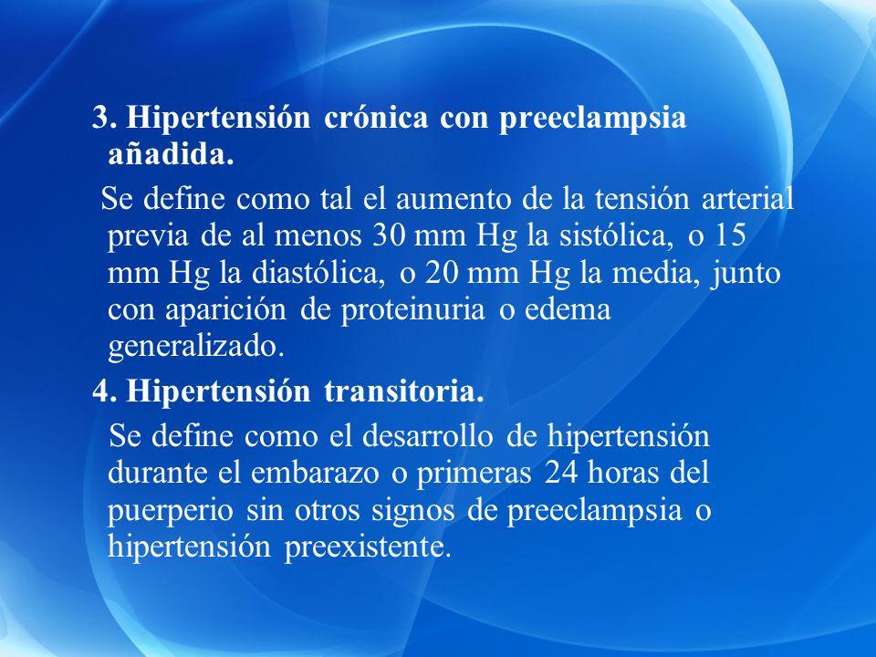 3. Hipertensión crónica con preeclampsia añadida.