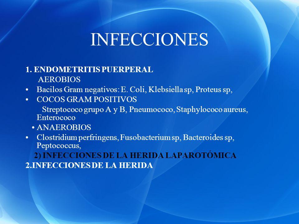INFECCIONES 1. ENDOMETRITIS PUERPERAL AEROBIOS