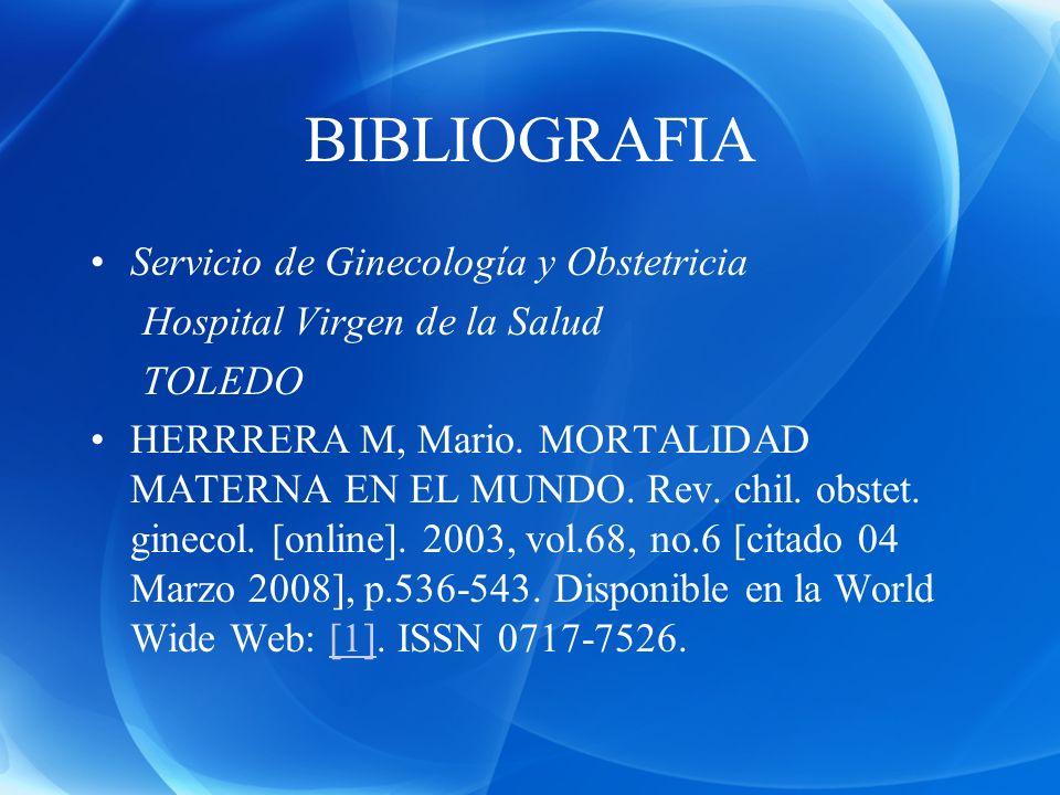 BIBLIOGRAFIA Servicio de Ginecología y Obstetricia