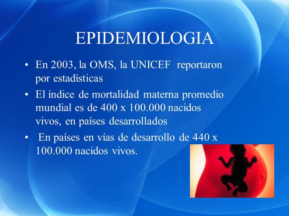 EPIDEMIOLOGIA En 2003, la OMS, la UNICEF reportaron por estadísticas