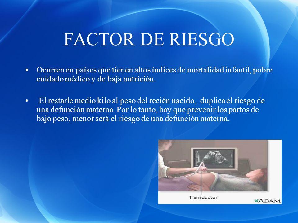 FACTOR DE RIESGO Ocurren en países que tienen altos índices de mortalidad infantil, pobre cuidado médico y de baja nutrición.