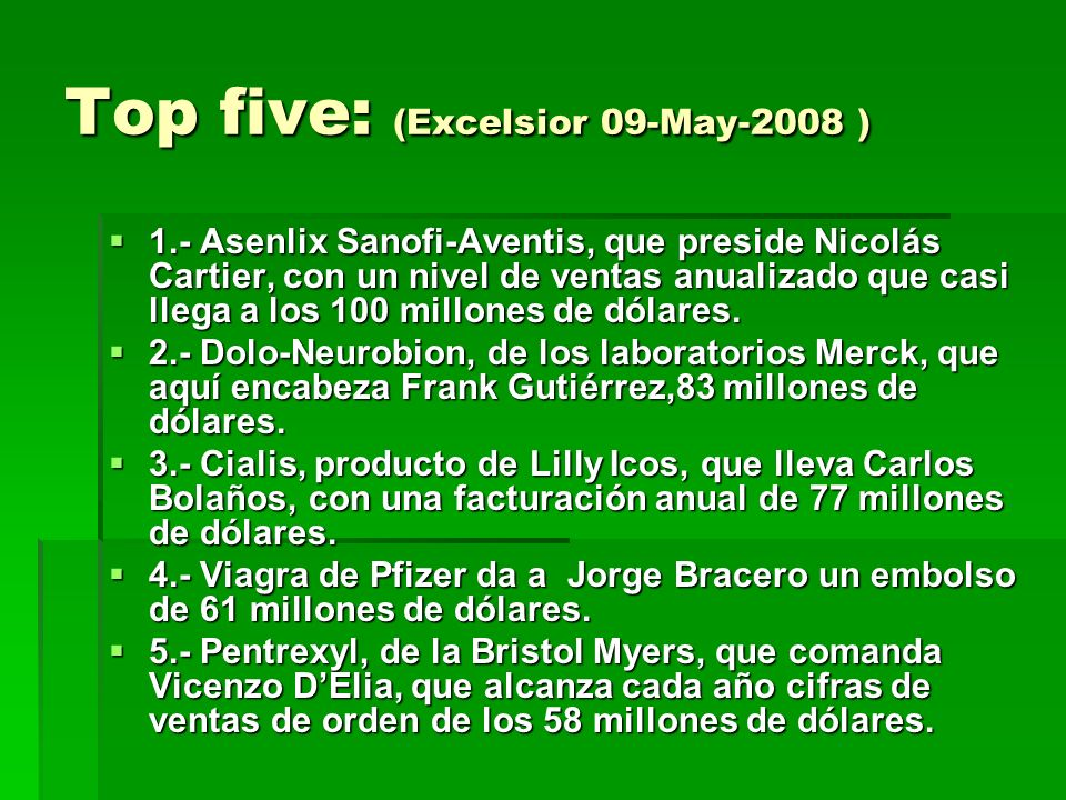 Top five: (Excelsior 09-May-2008 )