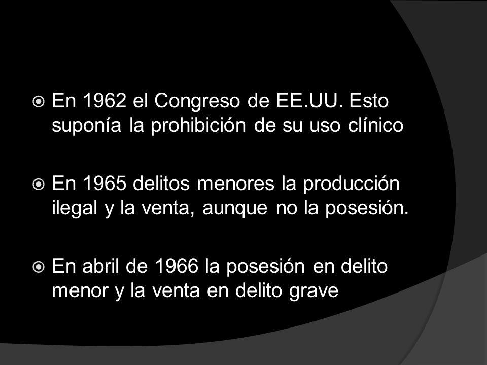 En 1962 el Congreso de EE.UU. Esto suponía la prohibición de su uso clínico