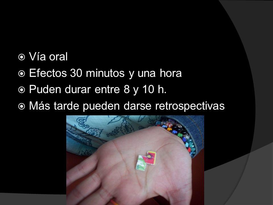 Vía oral Efectos 30 minutos y una hora. Puden durar entre 8 y 10 h.