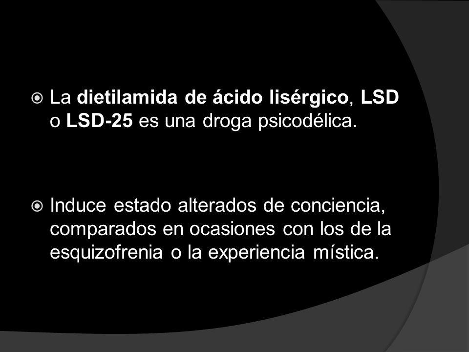 La dietilamida de ácido lisérgico, LSD o LSD-25 es una droga psicodélica.