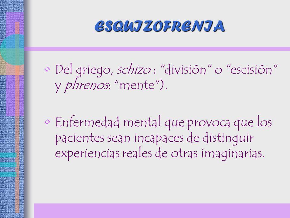 ESQUIZOFRENIA Del griego, schizo : división o escisión y phrenos: mente ).