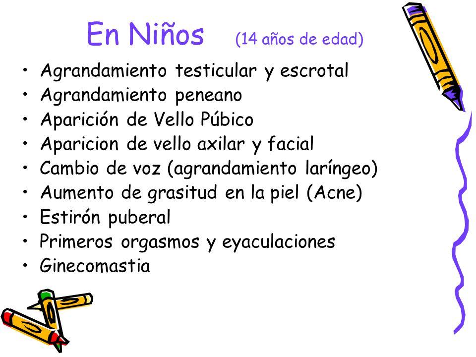 En Niños (14 años de edad) Agrandamiento testicular y escrotal