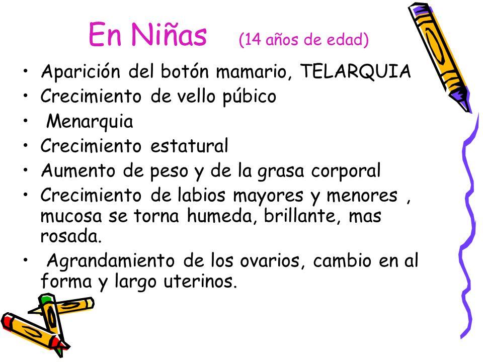 En Niñas (14 años de edad) Aparición del botón mamario, TELARQUIA