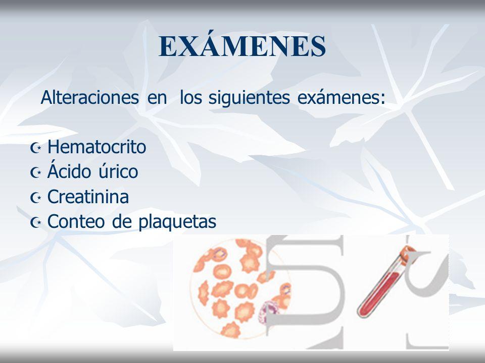 EXÁMENES Alteraciones en los siguientes exámenes: Hematocrito