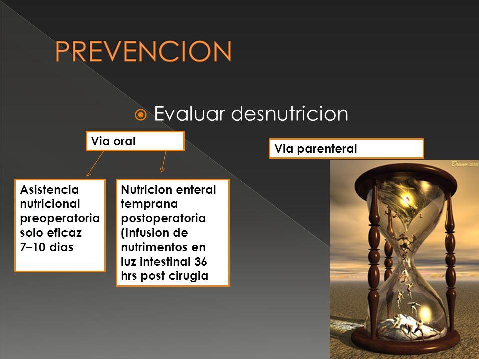 PREVENCION Evaluar desnutricion Via oral Via parenteral