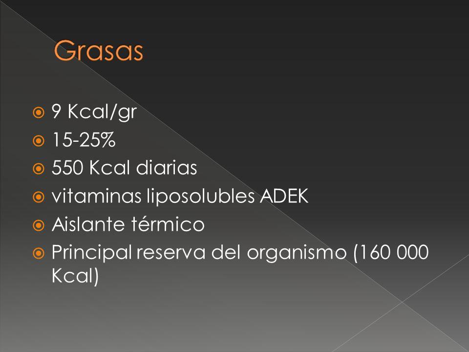 Grasas 9 Kcal/gr 15-25% 550 Kcal diarias vitaminas liposolubles ADEK