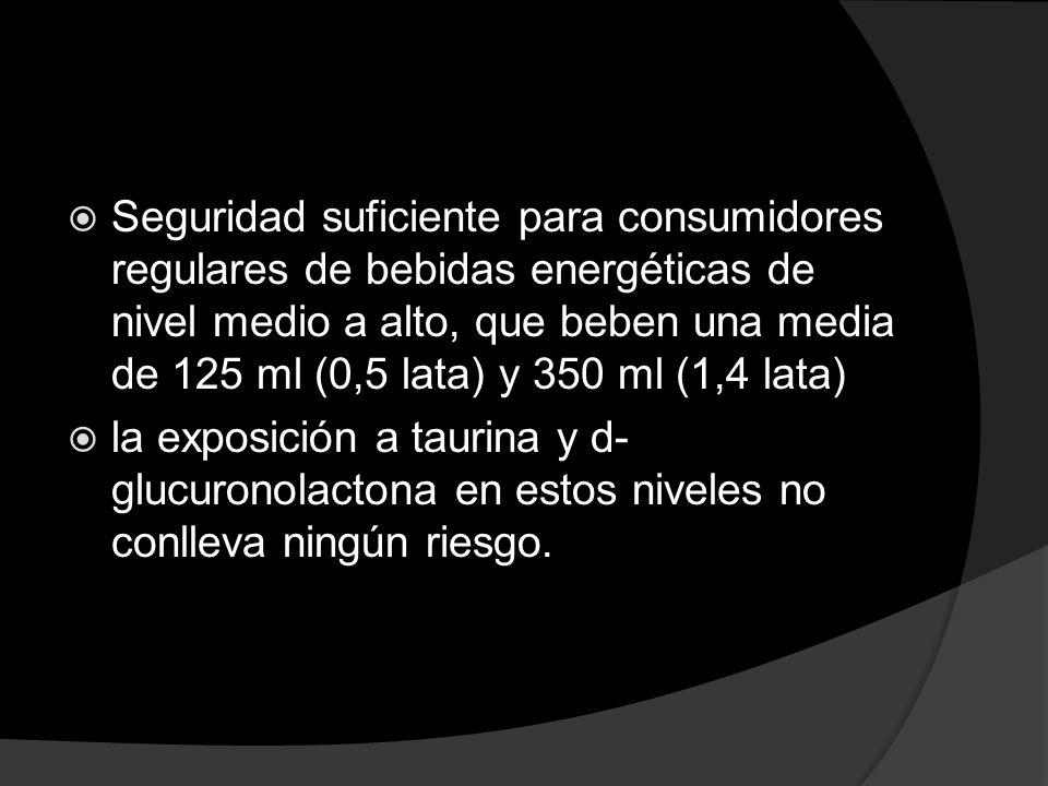 Seguridad suficiente para consumidores regulares de bebidas energéticas de nivel medio a alto, que beben una media de 125 ml (0,5 lata) y 350 ml (1,4 lata)