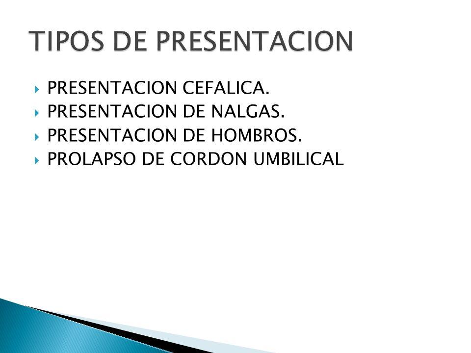 TIPOS DE PRESENTACION PRESENTACION CEFALICA. PRESENTACION DE NALGAS.