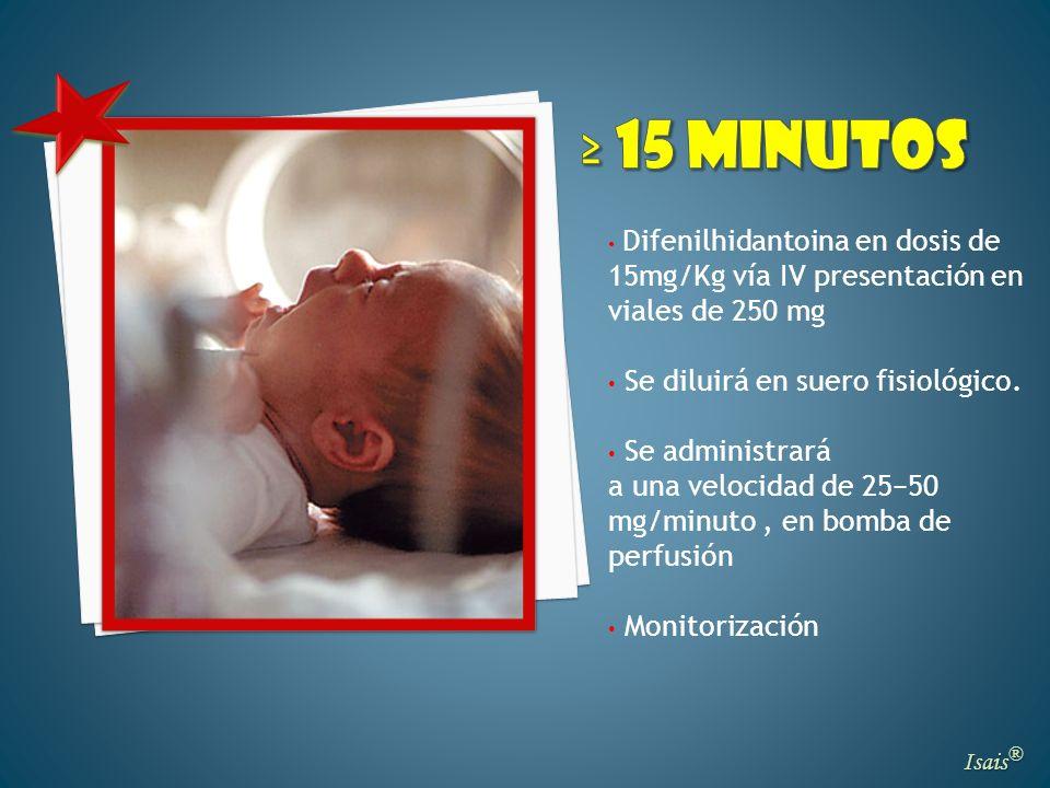 ≥ 15 minutos Se diluirá en suero fisiológico. Se administrará