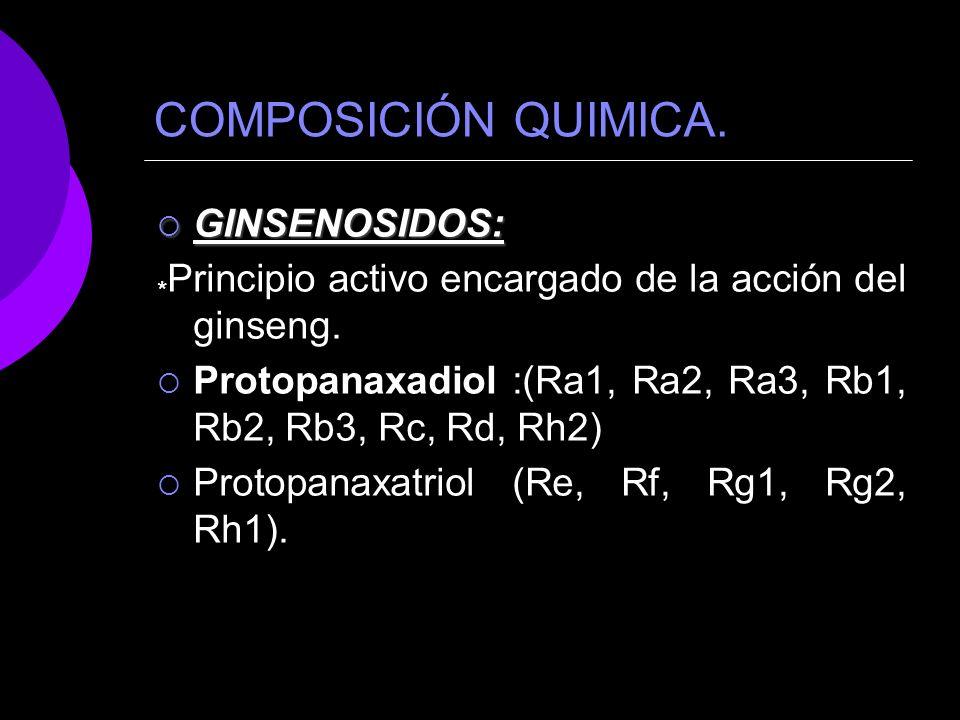 COMPOSICIÓN QUIMICA. GINSENOSIDOS: