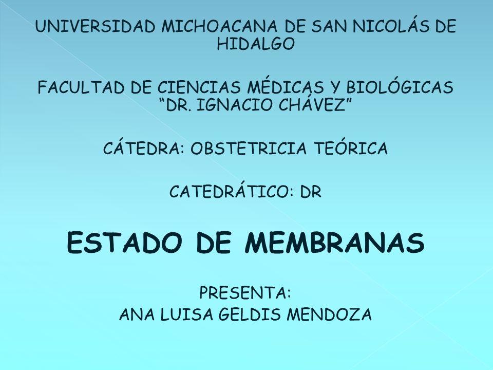 ESTADO DE MEMBRANAS UNIVERSIDAD MICHOACANA DE SAN NICOLÁS DE HIDALGO