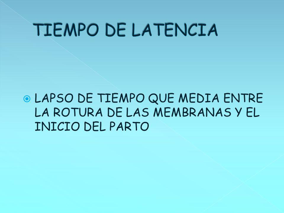 TIEMPO DE LATENCIA LAPSO DE TIEMPO QUE MEDIA ENTRE LA ROTURA DE LAS MEMBRANAS Y EL INICIO DEL PARTO