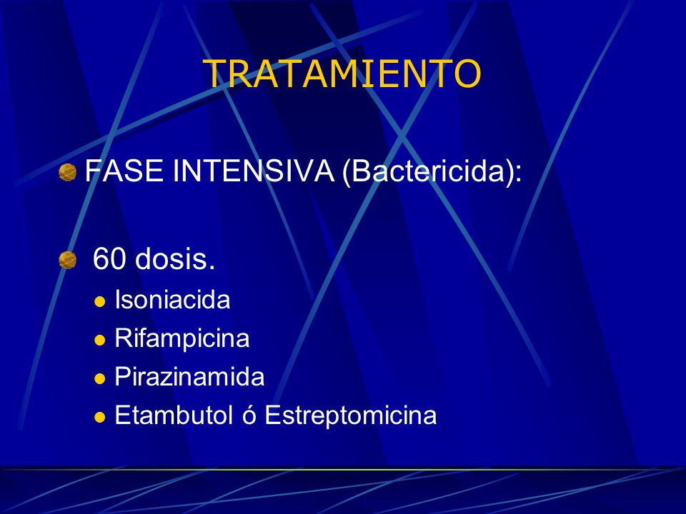 TRATAMIENTO FASE INTENSIVA (Bactericida): 60 dosis. Isoniacida
